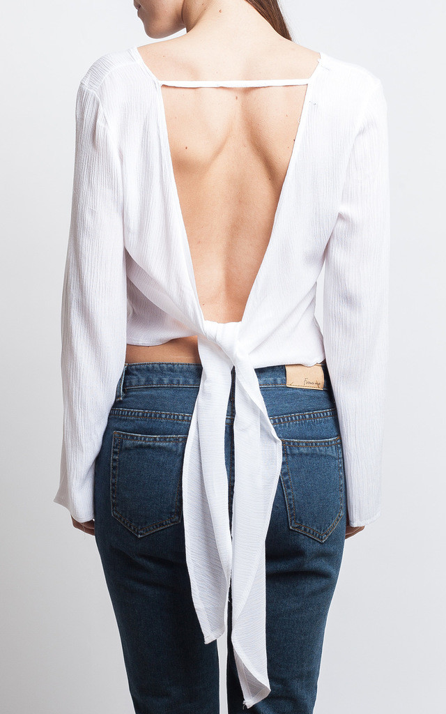 White Backless Tie Up Top by SIVONNA