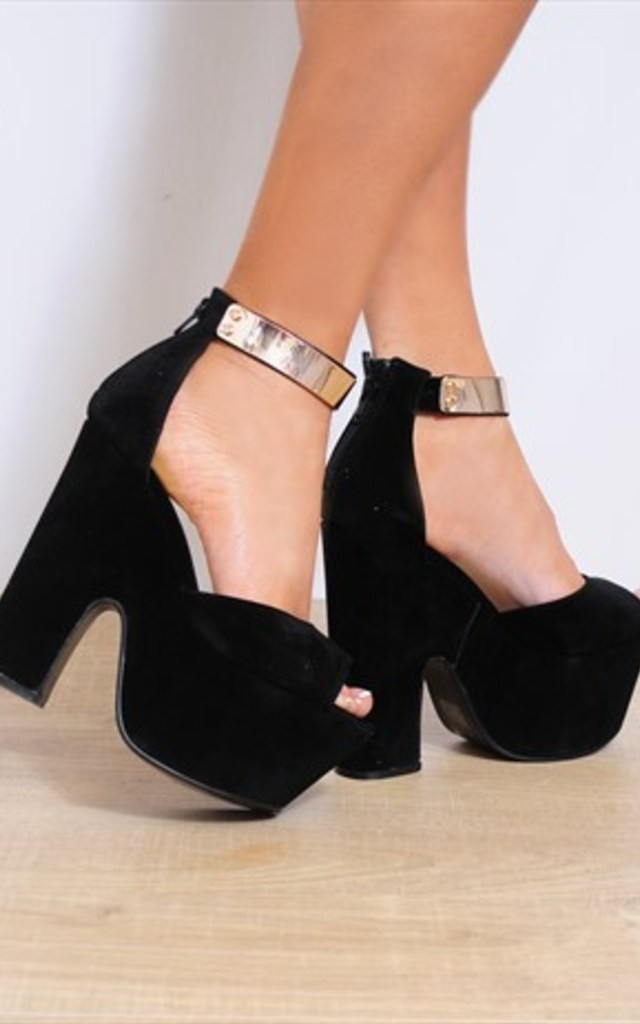 Black Gold Faux Metal Ankle Cuff Wedged Platforms Wedges Strappy Sandals by Shoe Closet