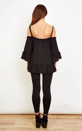 Black Off Shoulder Top With Pom Pom Neck Detail by Bella and Blue