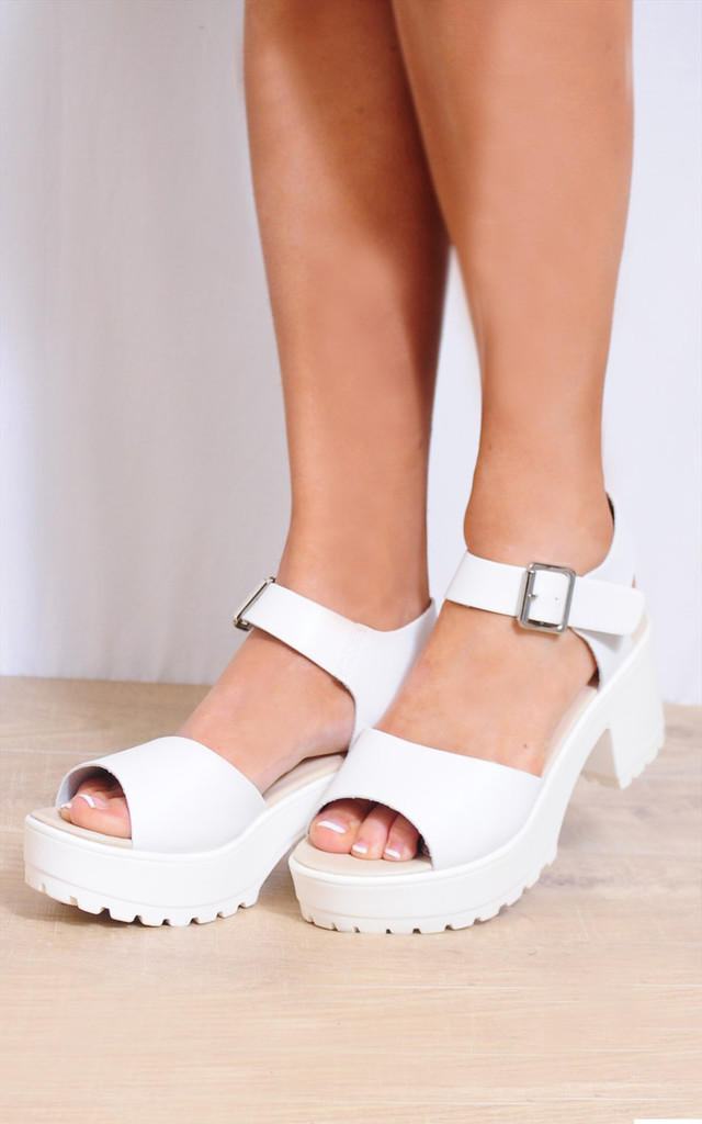 White Strappy Sandals Cleated Platforms Peep Toes Shoes by Shoe Closet
