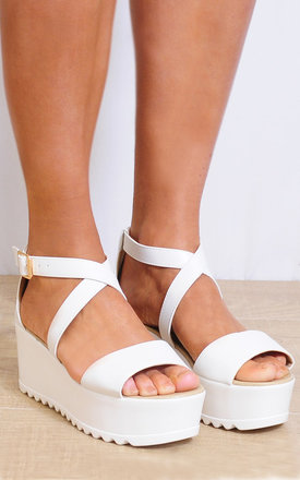 White Cleated Wedged Platforms Strappy Sandals by Shoe Closet