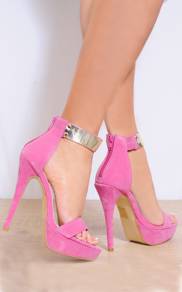 Candy Pink Barely There Gold Metal Ankle Cuff Strappy Sandals by Shoe Closet