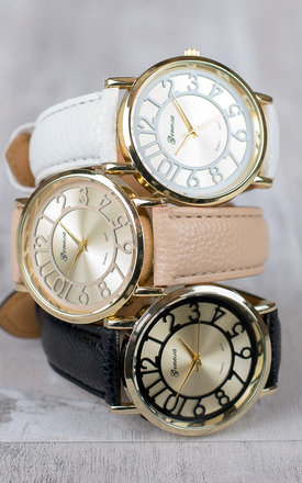 Cream Numeral Hollow Out Watch by Arcus Accessories
