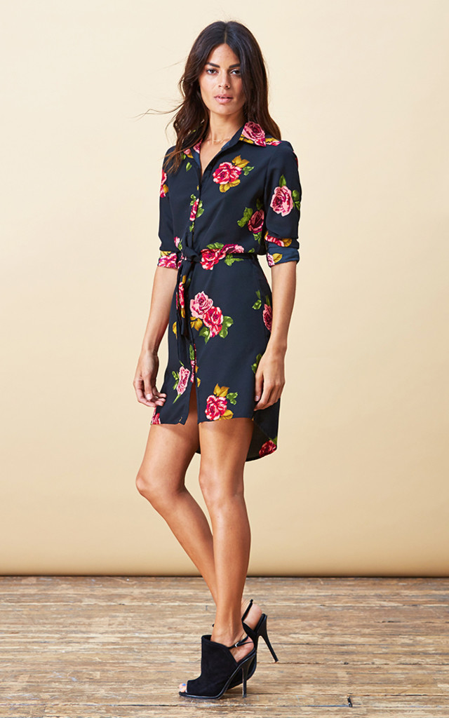 Mini Shirt Dress in Rose Print image