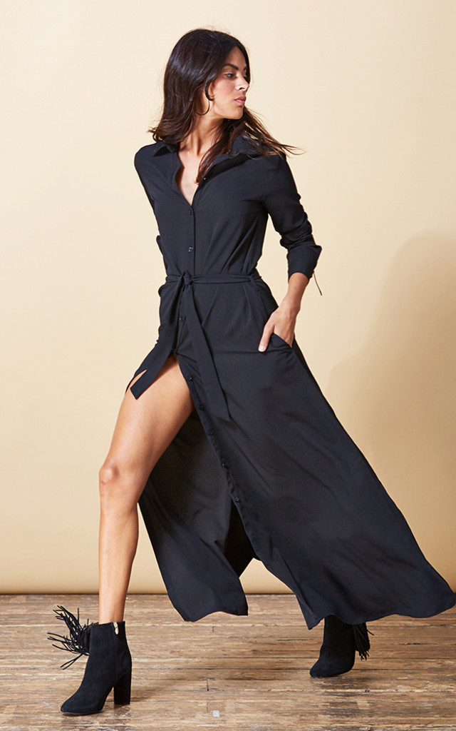 Maxi Shirt Dress in Black image
