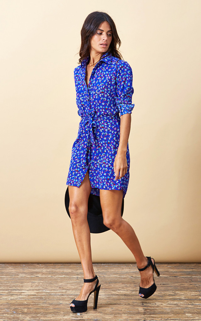 Mini Shirt Dress in Royal Blue Floral image