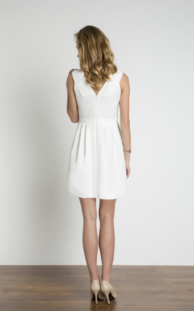 White Lace Body Strapped Plain Dress by URBAN TOUCH