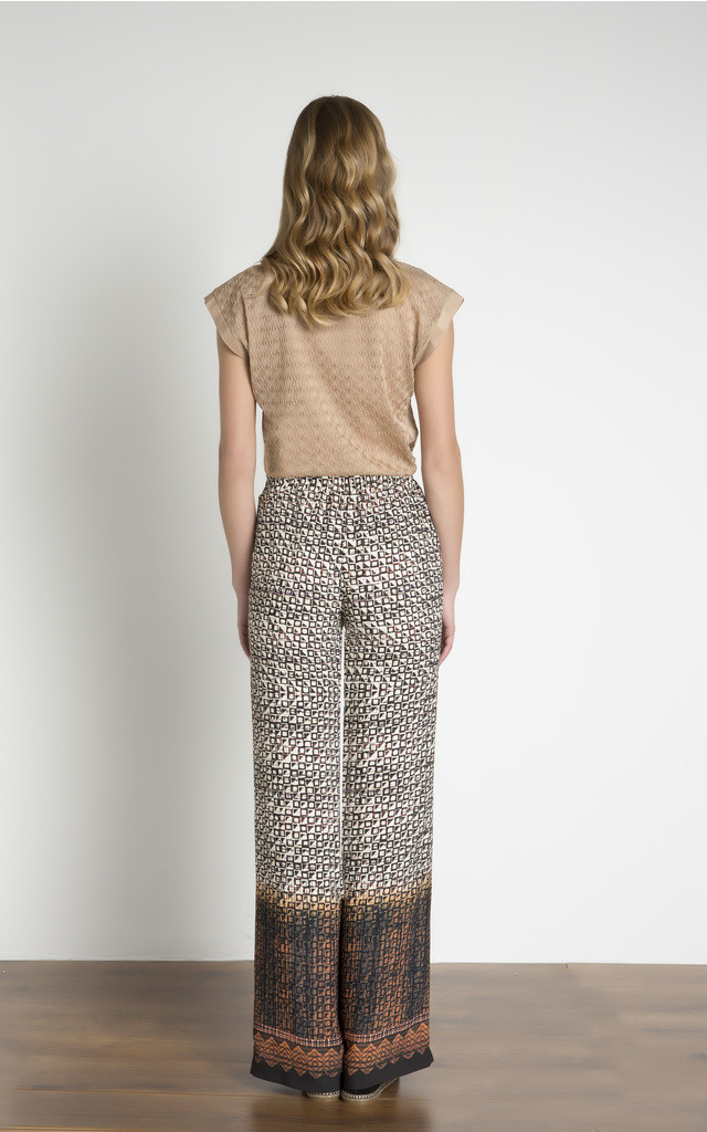 Elasticated Waist Wide Leg Printed Trouser by URBAN TOUCH