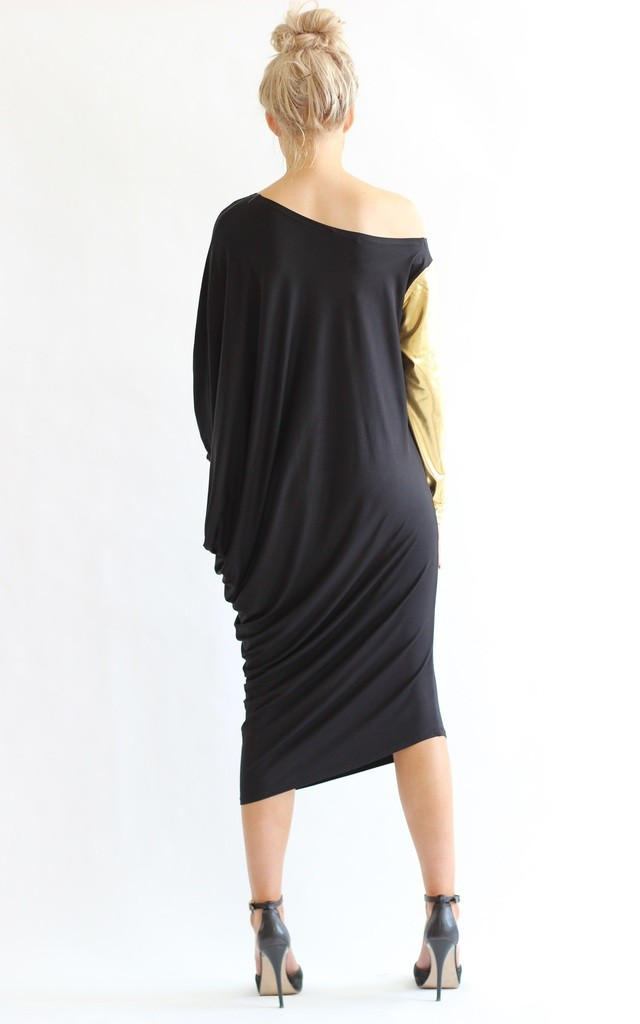 Ellie Gold Sleeve Asymmetric Dress by LagenLuxe