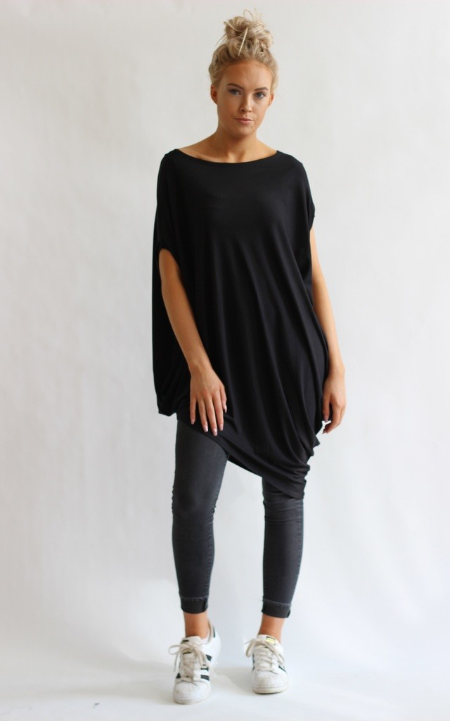 Gina Black Asymmetric Tunic Top by LagenLuxe