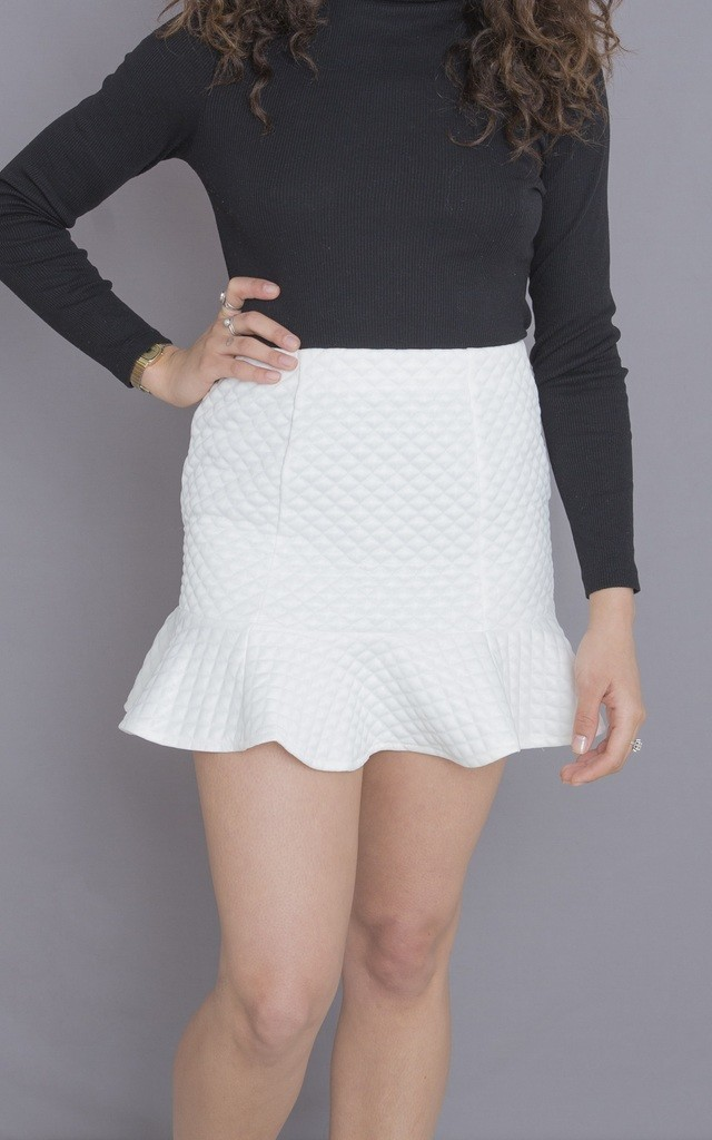 White mini skirt with frill by ceekit