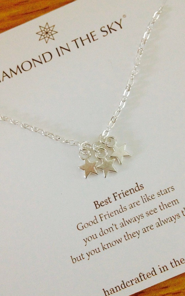 Best Friends, Stars necklace friends are like stars on Gift Card by Diamond in The Sky