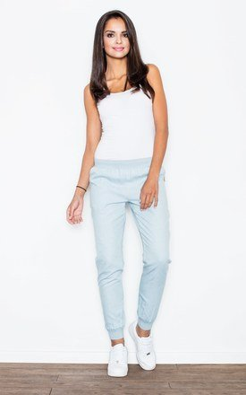 Light Blue Casual Trousers Made of Jeans-like Fabric by FIGL