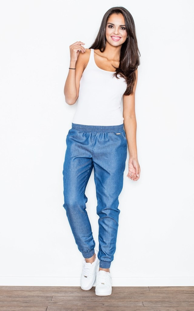 Blue Casual Trousers Made of Jeans-like Fabric by FIGL