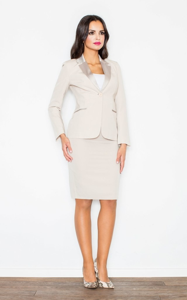 Beige Fitted Waist Blazer Jacket by FIGL