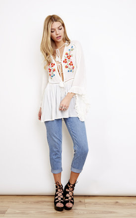 Tassel Tie Long Sleeve Embroidered Top by Glamorous Product photo