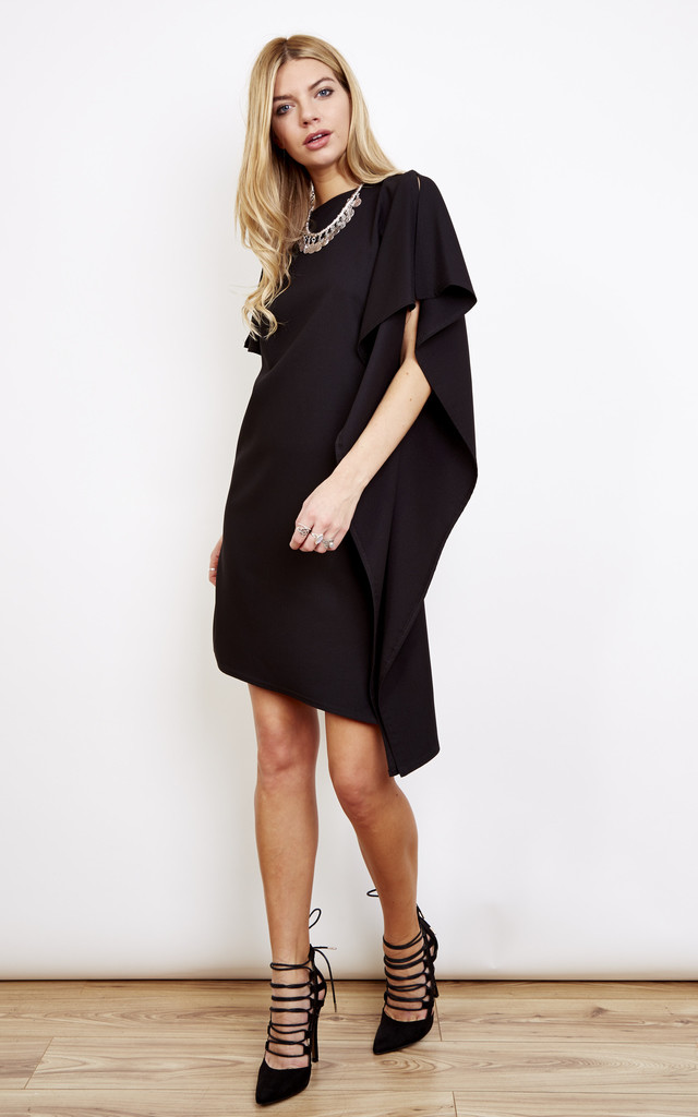 Black Asymmetric Tunic Dress Silkfred