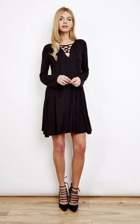 Black Swing Dress with Lace Up Detailing by Lilah Rose