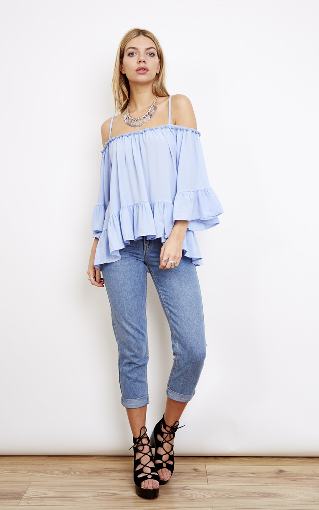 Blue Off Shoulder Top With Pom Pom Neck Detail by Bella and Blue