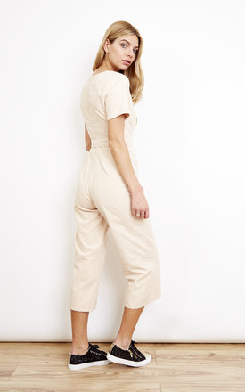 Sand Nude Tie Jumpsuit by Lola May