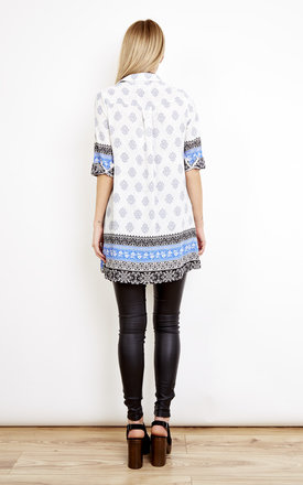 Printed Blue Contrast Shirt Dress by Lola May