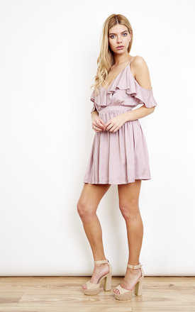 Grecian Frill Mini Dress Mink by Oh My Love Product photo