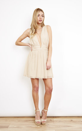 Grecian Mini Plunge Dress Gold by Oh My Love