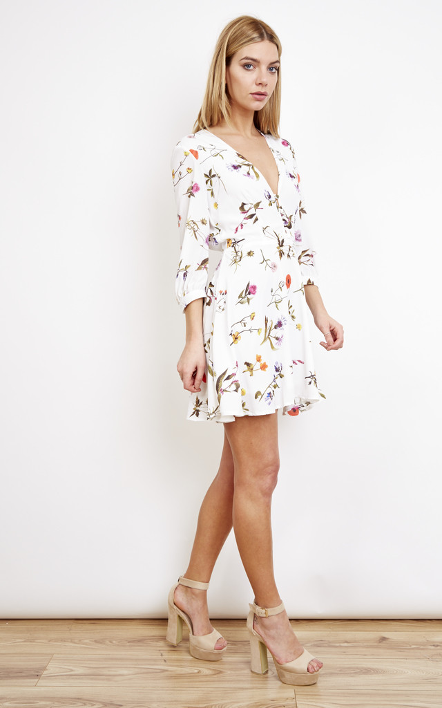 Mini Long Sleeve Tea Dress With Button Detail Summer Botanical by Oh My Love