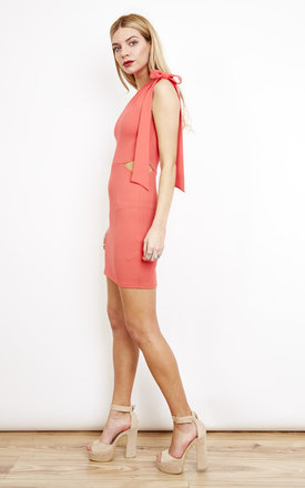 One Shoulder Tie Bodycon Dress Pink by Oh My Love