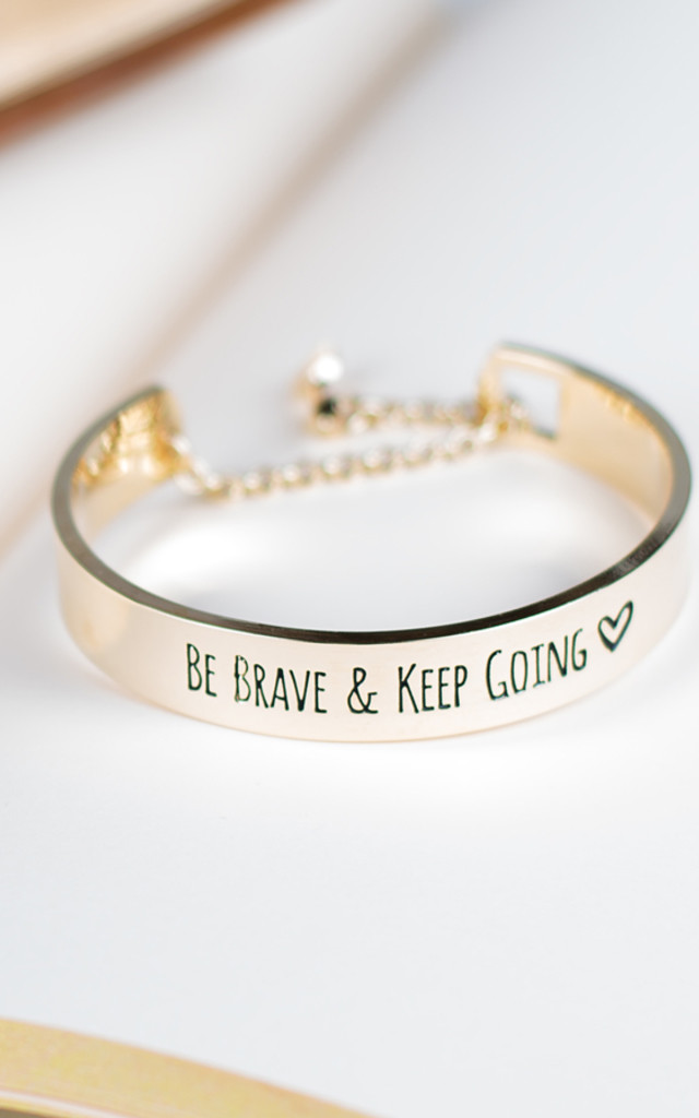 Gold Be Brave & Keep Going Bracelet by Arcus Accessories