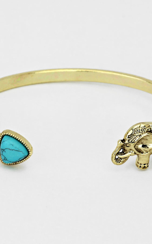 Gold Elephant & Howlite Bracelet by Arcus Accessories