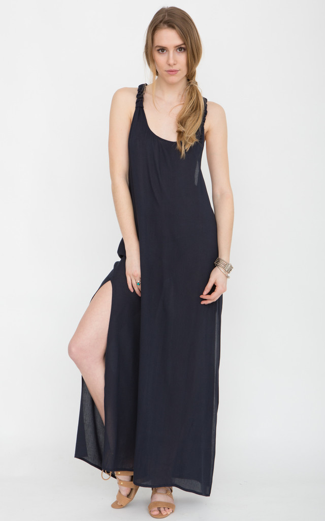 T-Back Maxi Vest Dress Navy by likemary