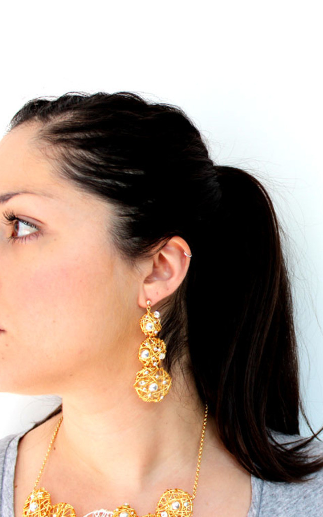 Gold Statement Drop Earrings by Black and Sigi Limited