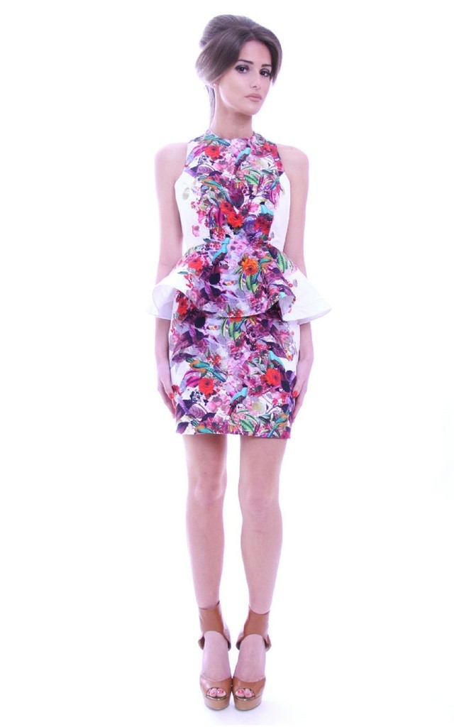 Lulu Peplum Dress in Floral Print by Rebecca Rhoades