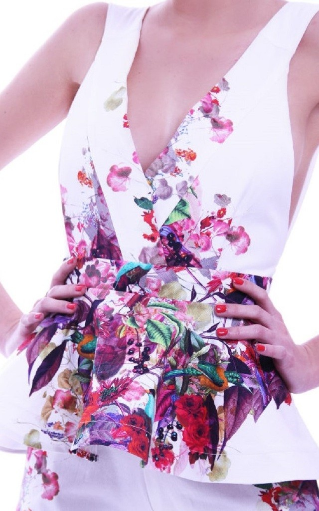 Penelope Peplum Playsuit with V Neck in Floral Print by Rebecca Rhoades