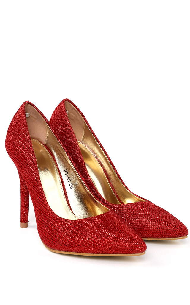 Red Shimmer Shoes by Jezzelle