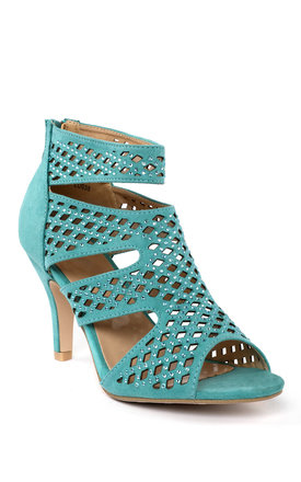 Turquoise Cut-out Booties by Jezzelle