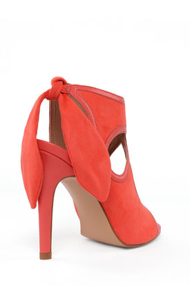 Bow Tie Back Heeled Coral Sandals by Jezzelle