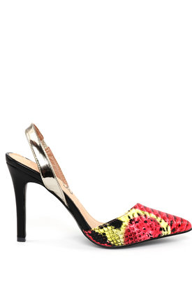 Colorfull Snake Print Slingback Shoes by Jezzelle
