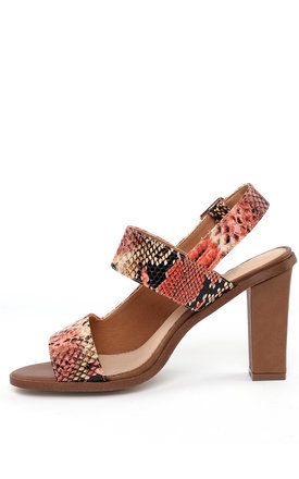 Coral Snake Skin Print d'Orsay Sandals by Jezzelle