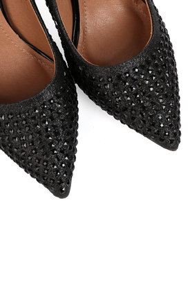 Encrusted Black Stiletto Shoes by Jezzelle