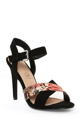 Heeled Black Suede Sandals by Jezzelle