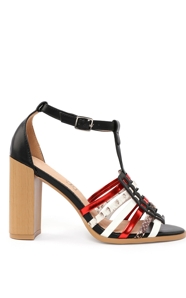 Multicolor Block Heel Sandals by Jezzelle