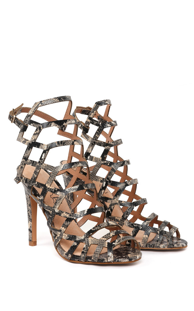 Python Print Cut Out Sandal High Heels by Jezzelle