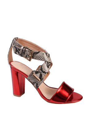 Snake Print Wedge Heel Sandals by Jezzelle