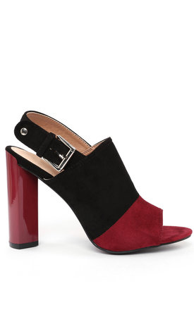 Two-tone Suede Peep-toe Booties by Jezzelle