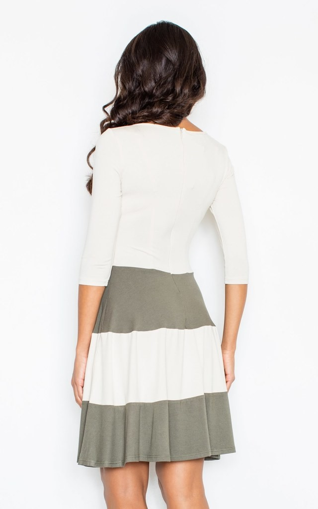 Flared Elegant Dress with Contrasting Olive Green Stripes by FIGL