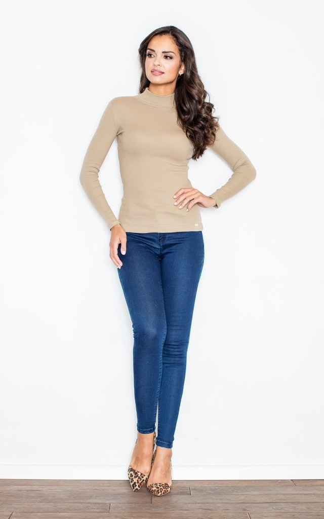 Beige Turtleneck Blouse by FIGL