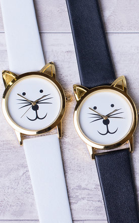 White Cute Cat Watch by Arcus Accessories