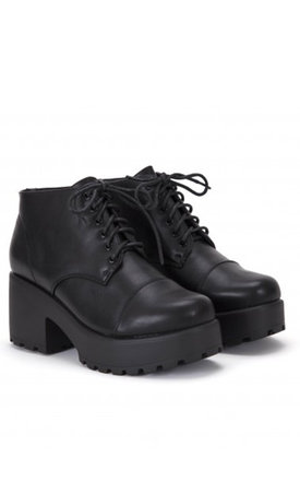Black Faux Leather Cleated Platforms Lace Ups Ankle Boots by Shoe Closet